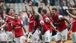 Arsenal FC players celebrate victory